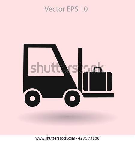 Flat loading machine icon. Vector - stock vector