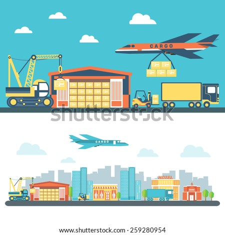 Flat logisticequipment and delivery service background concept. Vector illustration for colorful template for you design, web and mobile applications. - stock vector