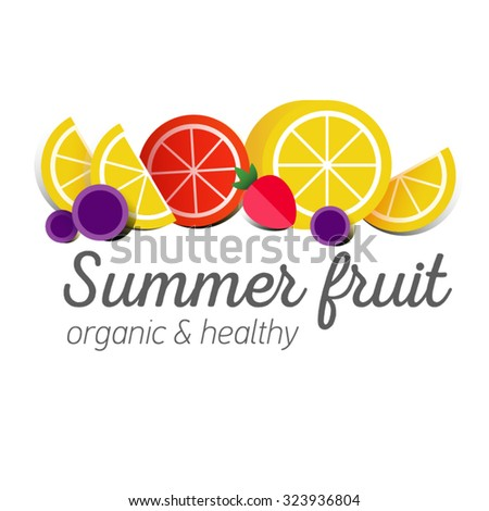 Flat logo or fruit symbol. Typography. Icon healthy diet. Stewed fruit. Lemon with clice of grapefruit, strawberries, grapes. - stock vector