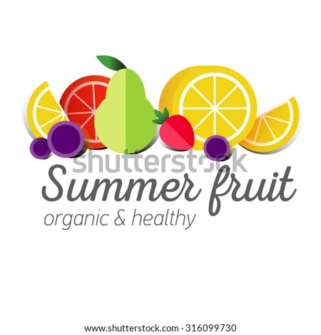 Flat logo or fruit symbol. Typography. Icon healthy diet. Stewed fruit, slices of lemon, orange, grapefruit, strawberries, grapes, pears. Organic food - stock vector