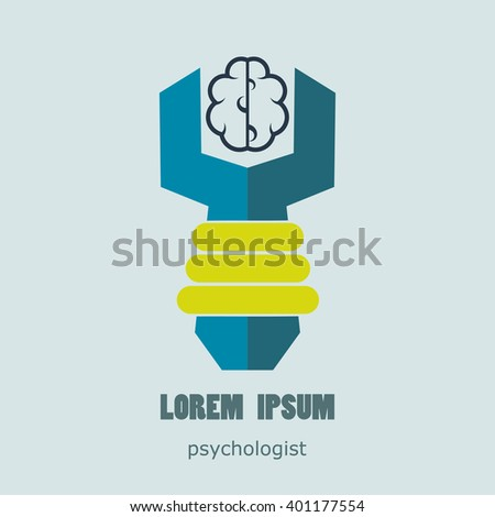 Flat logo psychologist. Medical and health care. Easy to use and edit. Vector illustration - stock vector