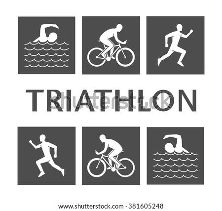 Flat logo triathlon. Vector figures triathletes on a white background. Flat figure athlete. Swimming, cycling and running icons.