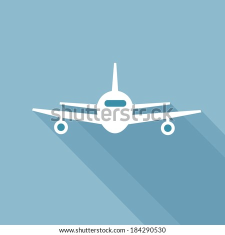 Flat long shadow airplane icon. Front view flying aircraft - stock vector