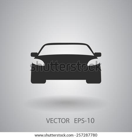 Flat long shadow Car icon, vector illustration - stock vector