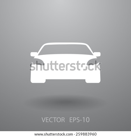 Flat long shadow Car icon, vector illustration - stock vector