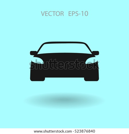 Flat long shadow Car icon, vector illustration