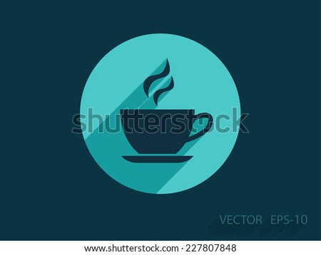 Flat long shadow Cup of hot drink icon, vector illustration - stock vector
