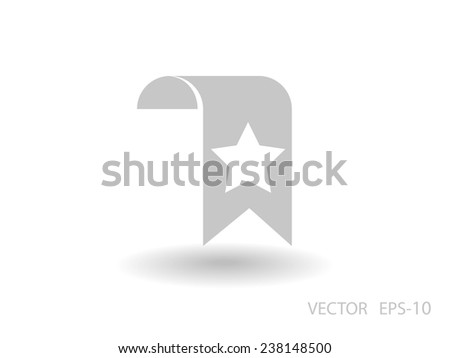Flat long shadow Favorite bookmark icon, vector illustration - stock vector