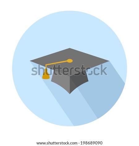 Flat long shadow graduation hat icon: education symbols - stock vector