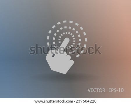 Flat long shadow Hand Touch icon, vector illustration - stock vector