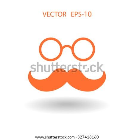 Flat long shadow Hipster retro style mustache and eyeglasses icon, vector illustration - stock vector