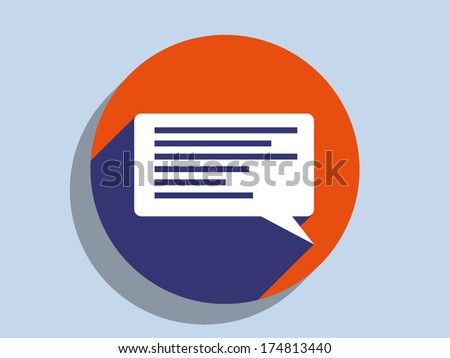 Flat long shadow icon of a communication - stock vector