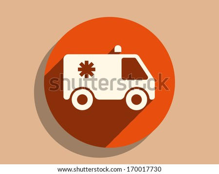 Flat long shadow icon of ambulance - stock vector