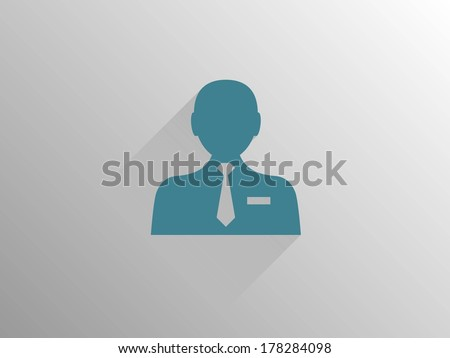 Flat long shadow icon of businessman - stock vector