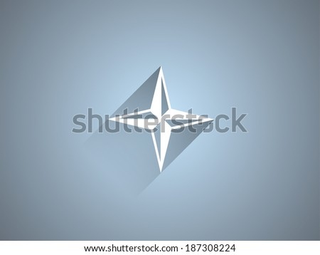Flat long shadow icon of compass