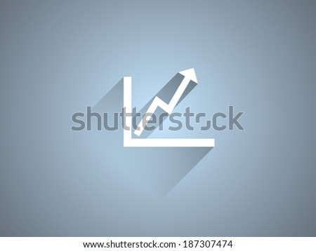 Flat long shadow icon of graph - stock vector