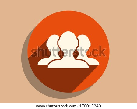 Flat long shadow icon of team work - stock vector