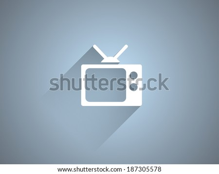 Flat long shadow icon of TV - stock vector