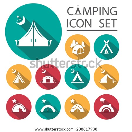 Flat Long Shadow tourist tent.Icon Set. Vector illustration. - stock vector