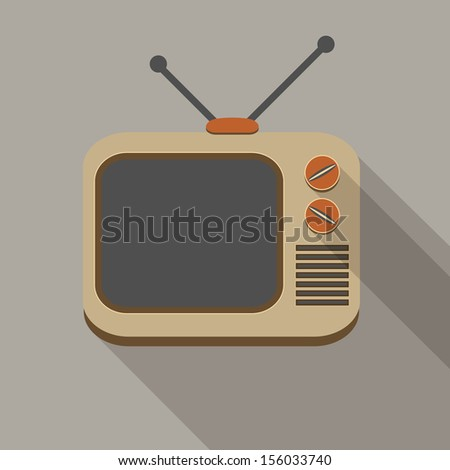 Flat long shadow tv set icon on gray - stock vector