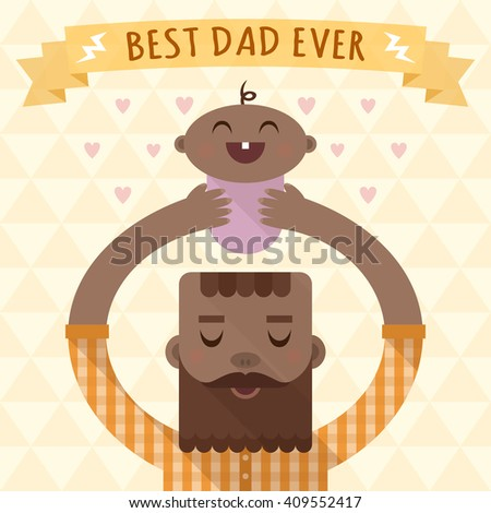 Flat long shadow vector illustration with father and child. Happy Father's Day card.