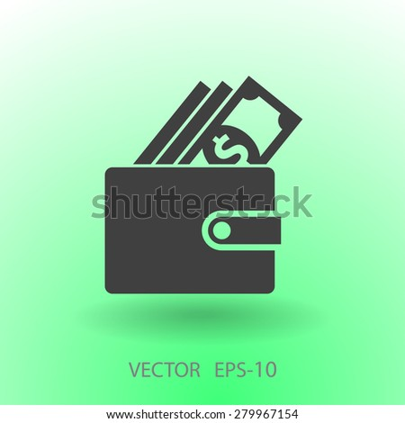 Flat long shadow Wallet icon, vector illustration - stock vector