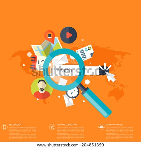 Flat loupe icon. SEO. Search engine optimization. Data finding. Content analyzing. - stock vector