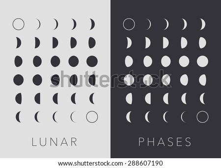 Flat Lunar phases, black and white vector - stock vector