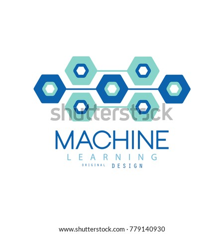 Flat Machine Learning Logo Design Computer Science And Technology Artificial Intelligence Sign Digital