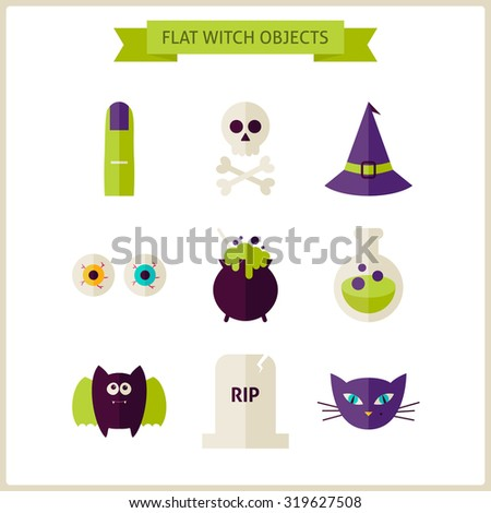 Flat Magic Halloween Witch Objects Set. Vector Illustration. Collection of Scary Autumn Halloween Party Holiday Objects Isolated over white. Tricks and Treats Concept