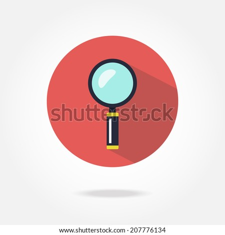Flat magnifier icon. - stock vector