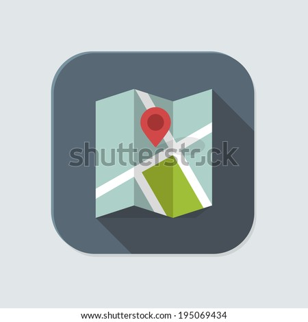 Flat map icon for application on grey background - stock vector