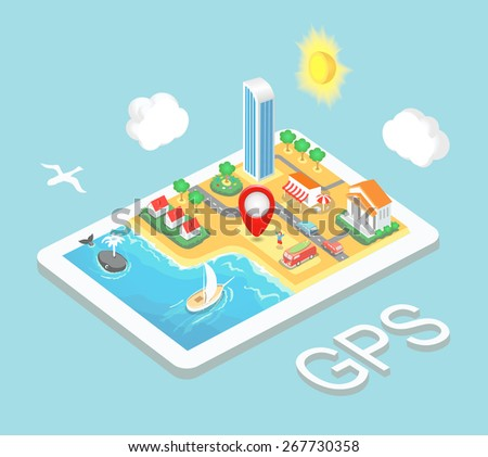 Flat map mobile GPS navigation, Infographic 3d isometric  concept. GPS route map. Vector illustration - stock vector