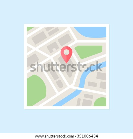 Flat map with pin. Vector map pointer icon - stock vector