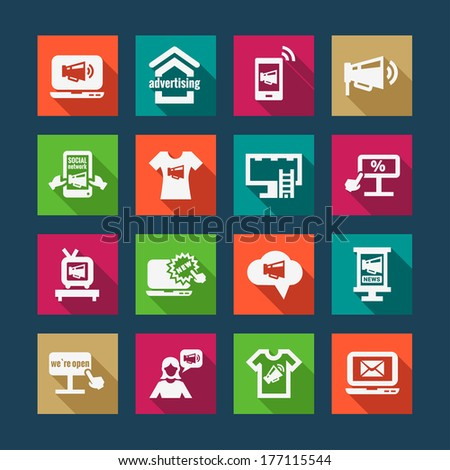 Flat Marketing and Advertisement  Icons Set. - stock vector