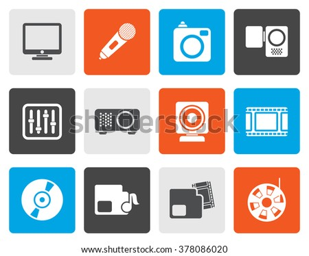 Flat Media equipment icons - vector icon set