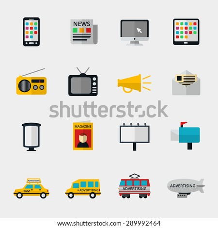 Flat media icons set. Marketing web, email television and radio internet, media content, newspaper and magazine. Vector illustration - stock vector
