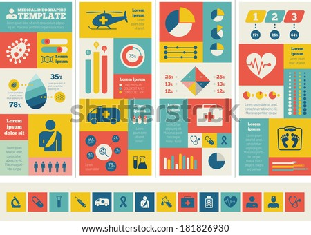 Flat Medical Infographics Elements plus Icon Set. Vector. - stock vector