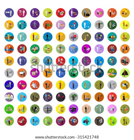 Flat Men - Different Occupation Set. Collection Of Colorful Icons. For Web, Websites, Print, Presentation Templates, Mobile Applications And Promotional Materials - Vector Illustration - stock vector