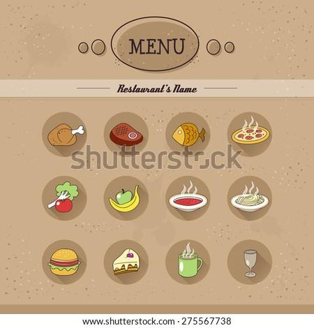 Flat menu icons. Restaurant menu icons set. Hand drawn style. Use for restaurant menu decoration. Vector EPS 10 - stock vector