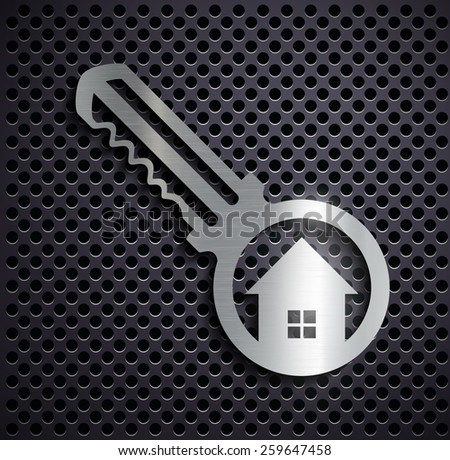 Flat metallic logo key. Vector image. - stock vector