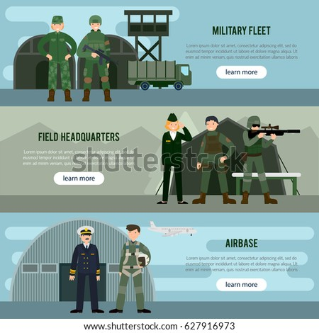 Flat military horizontal banners with infantry soldiers field headquarters commander and pilot vector illustration