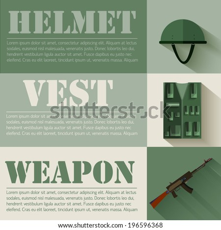 flat military soldier equipment set design concept. Vector illustration infographic - stock vector