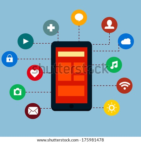 Flat mobile app concept - stock vector