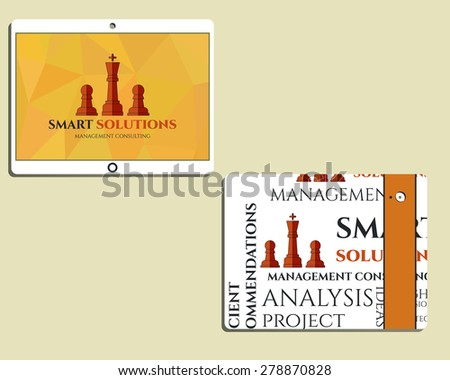 Flat Mobile device and tablet. Chess Smart solutions design template with management Consulting keywords concept. With company logo. Best for management consulting, finance, companies. Vector - stock vector
