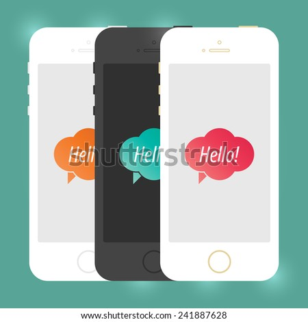Flat Mobile Device Smartphone Mockup. Isolated Creative Cellphone. Vector EPS10 Concept Illustration Design - stock vector