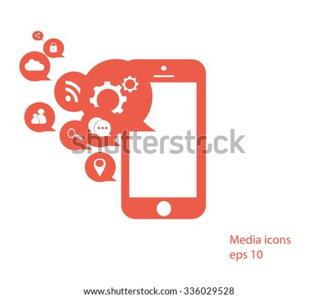Flat mobile phone vector with social media icons blue, eps 10