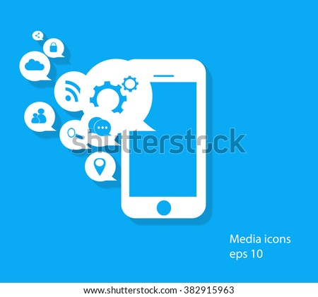 Flat mobile phone vector with social media icons,  eps 10