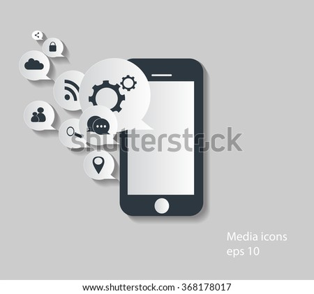 Flat mobile phone vector with social media icons, eps 10 white