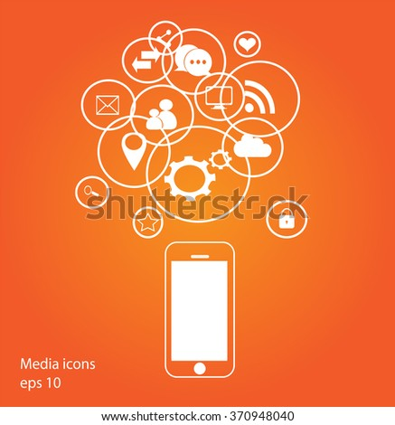 Flat mobile phone vector with social media icons orange, eps 10